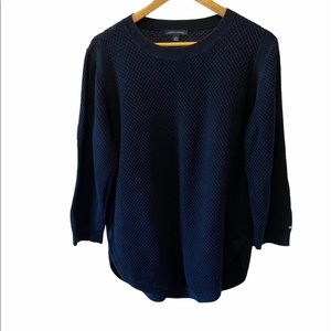 TOMMY HILFIGER Navy Loose Knit Crew Neck Sweater